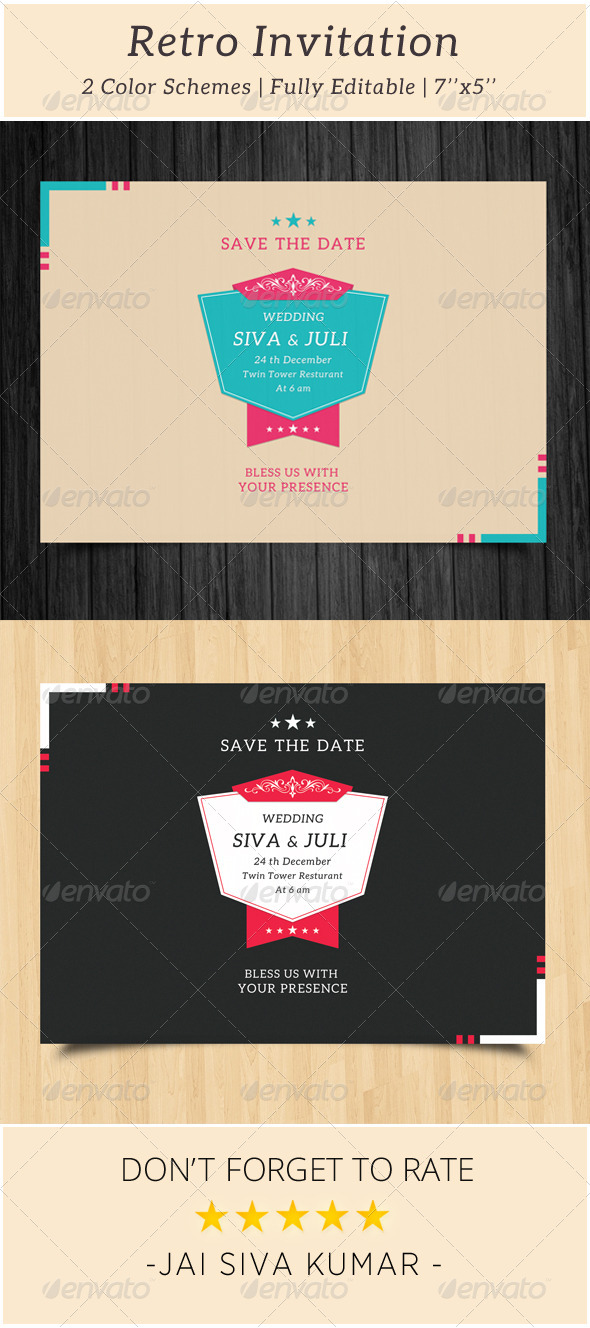 Retro Wedding Invitation - Weddings Cards & Invites