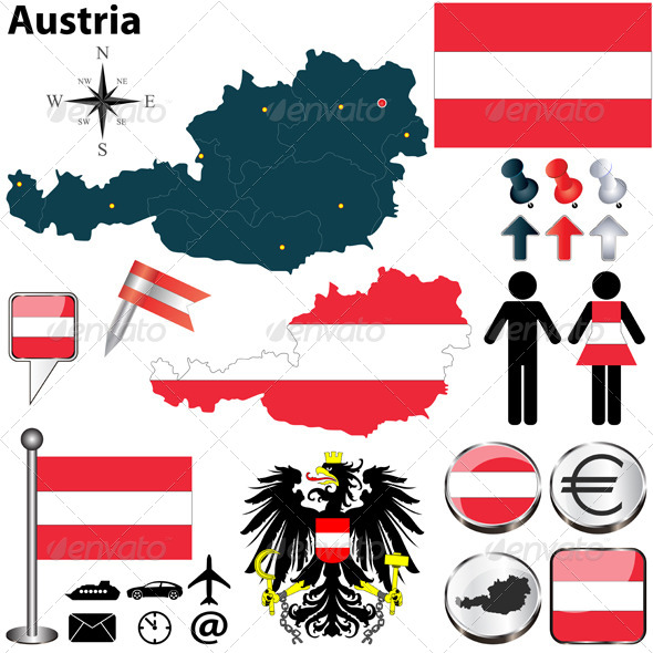 Map of Austria - Travel Conceptual