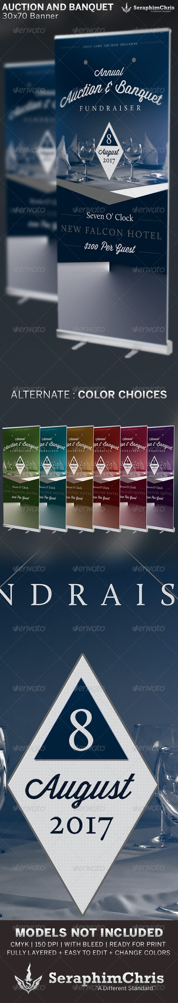 Auction and Banquet Fundraiser: Banner Template - Signage Print Templates