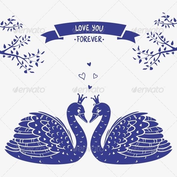 Swans silhouette - Valentines Seasons/Holidays