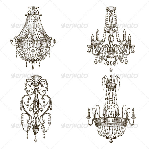 Chandelier Sketches - Objects Vectors