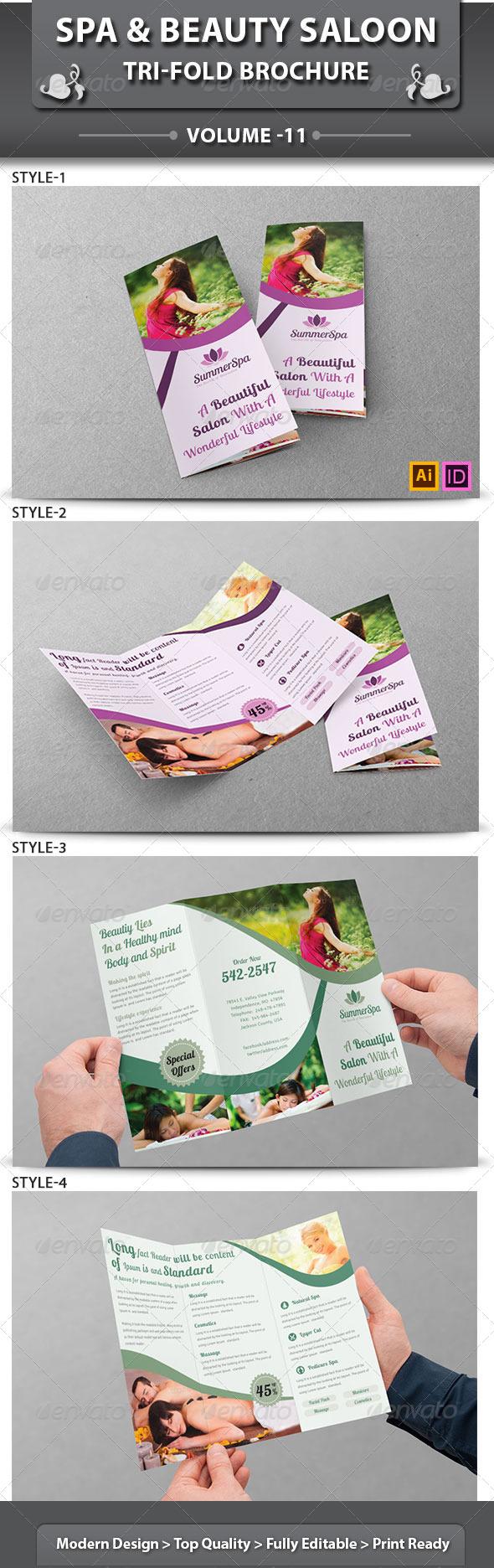 Spa & Beauty Saloon Tri-Fold Brochure | Volume 11 - Brochures Print Templates