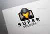 Super soldier logo vector template paper.  thumbnail