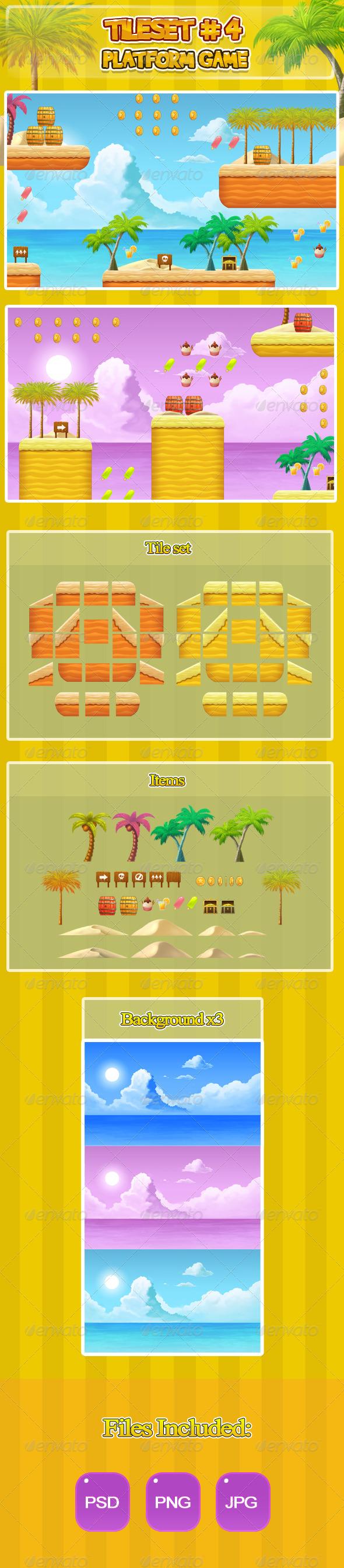 2D Tileset Platform Game 4 - Tilesets Game Assets