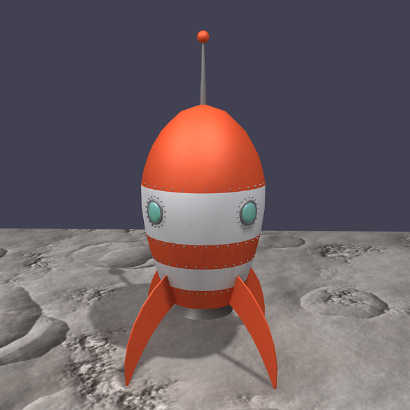 Retro Rocket - Orange and White - 3DOcean Item for Sale