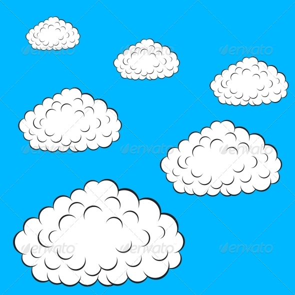 Set of Colorful Clouds - Web Elements Vectors