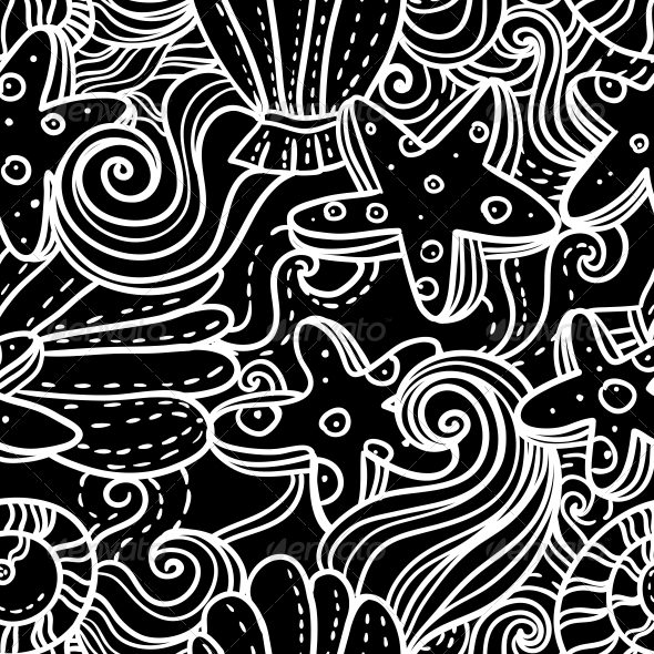 Seamless Monochrome Sea Background  - Patterns Decorative