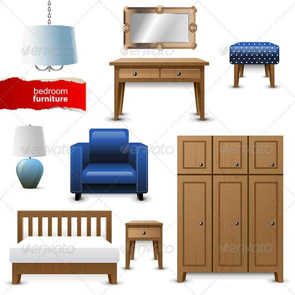 Bedroom Furniture - Objects Vectors