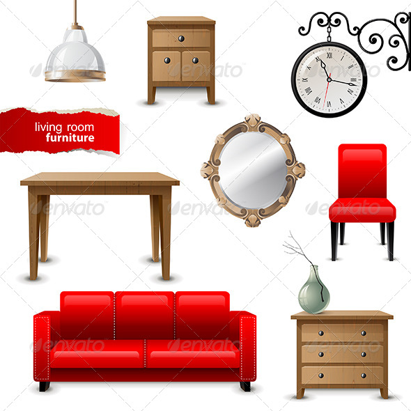 Living Room Furniture - Objects Vectors