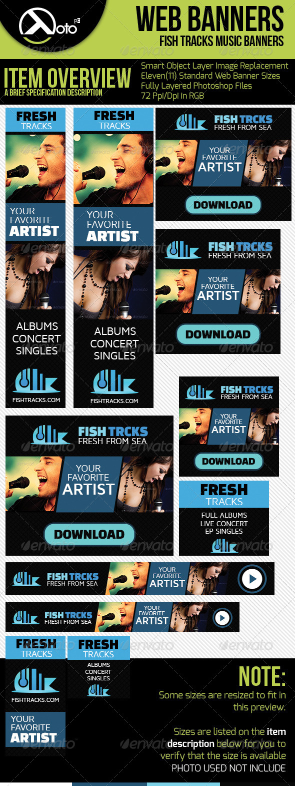 Fish Tracks Online Music Store Web Banners - Banners & Ads Web Elements