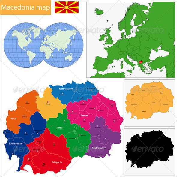 Macedonia Map - Travel Conceptual