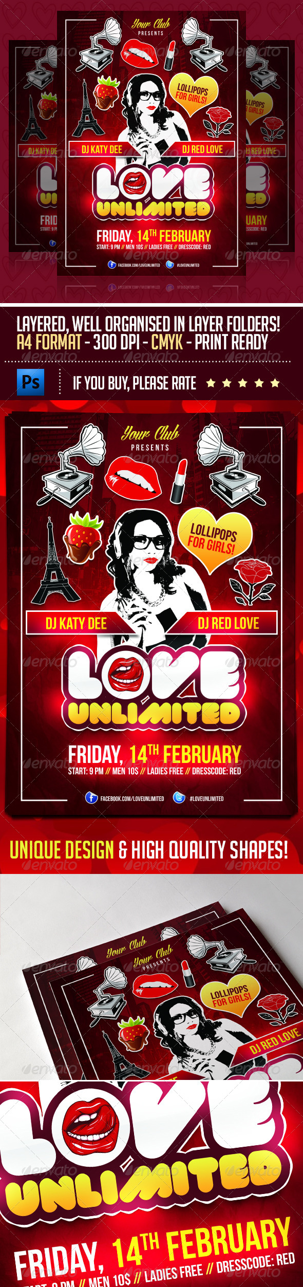 Love Unlimited Valentines Day Flyer - Events Flyers