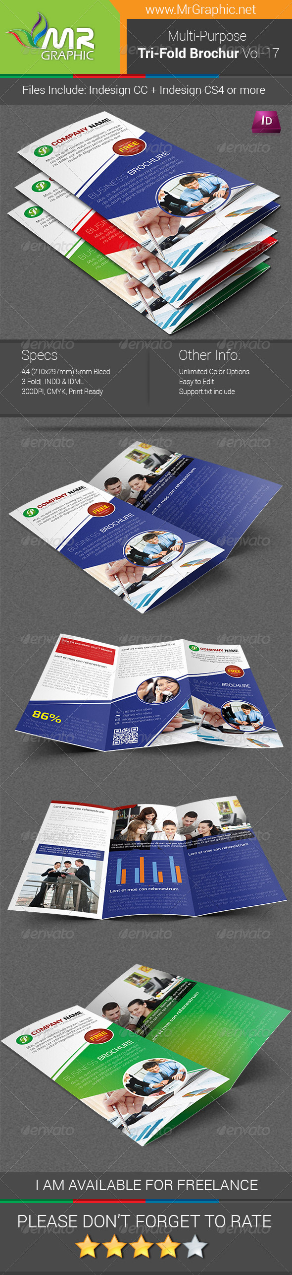 Multipurpose Business Tri-Fold Brochure Vol-17 - Corporate Brochures