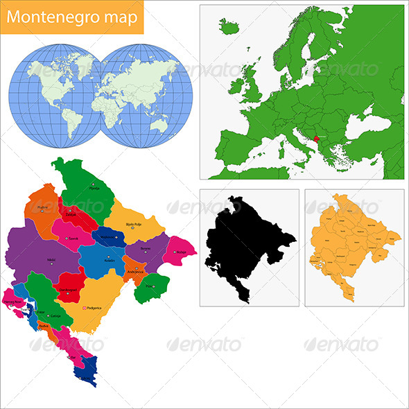 Montenegro Map - Travel Conceptual