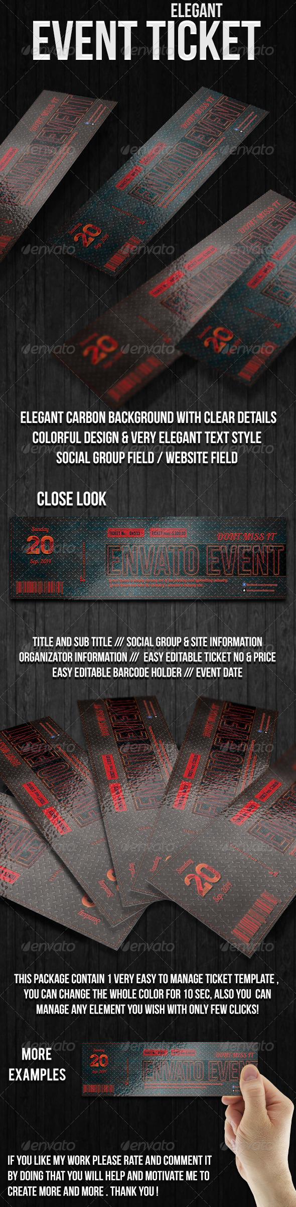 Elegant Carbon Event Ticket - Cards & Invites Print Templates