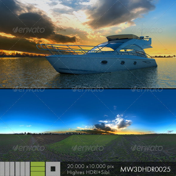 MW3DHDR0025 Sunset With a Deep Blue Sky - 3DOcean Item for Sale