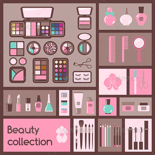 Set of Cosmetics Icons - Man-made Objects Objects