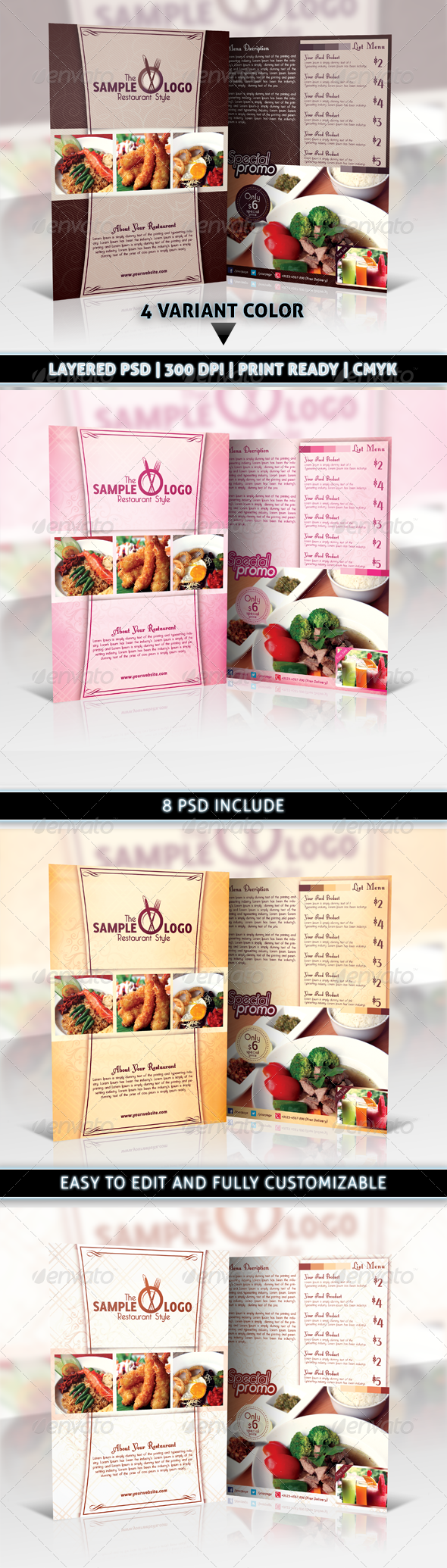 Modern & Elegant Restaurant Food Menu Flyer - Restaurant Flyers