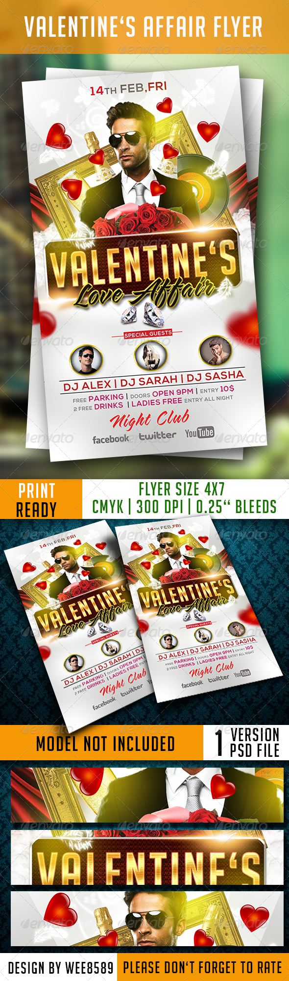 Valentine's Affair Flyer Template - Clubs & Parties Events