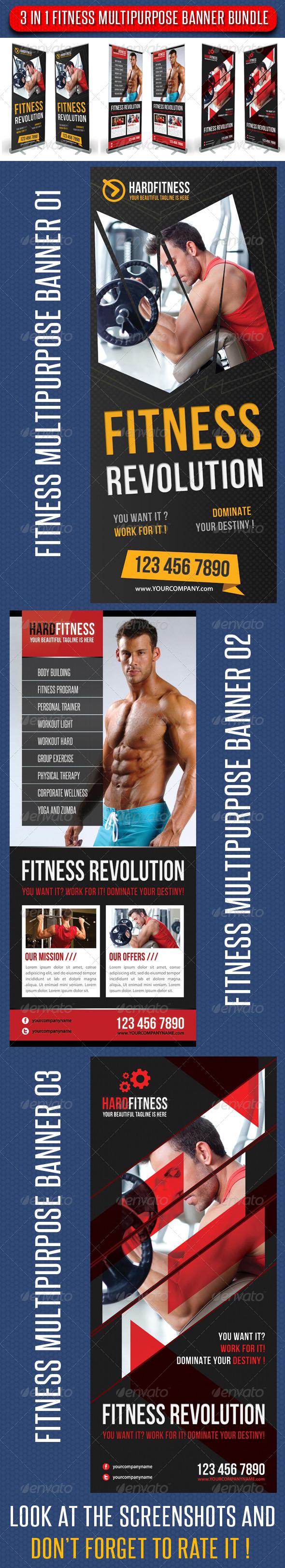 3 in 1 Fitness Multipurpose Banner Bundle 01 - Signage Print Templates