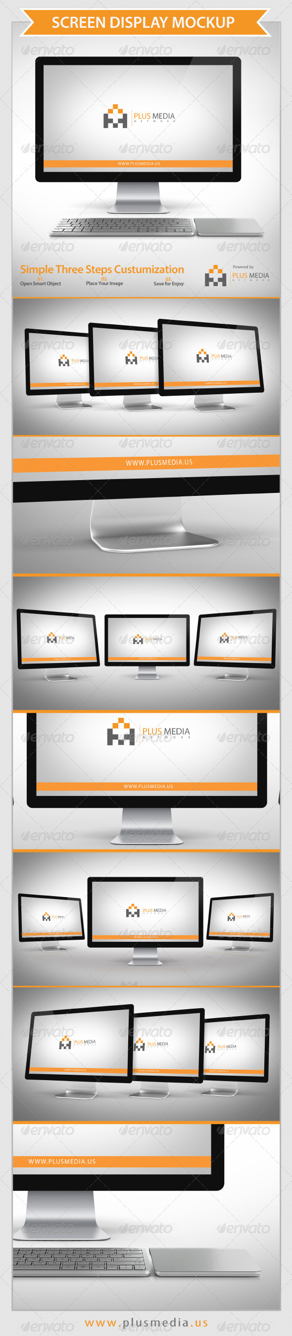 Screen Display Mockup - Product Mock-Ups Graphics
