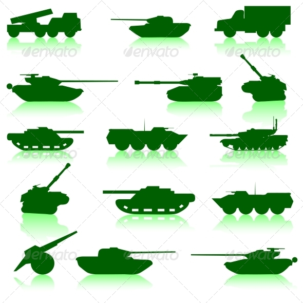 Collection Set of Tanks of Guns - Web Elements Vectors
