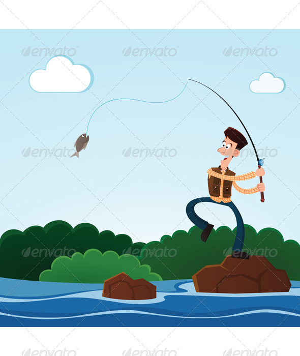 Fishing in the River - Sports/Activity Conceptual