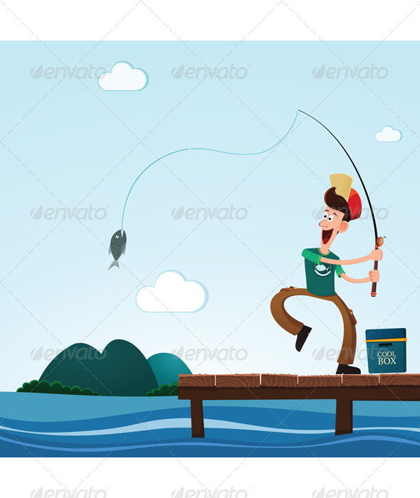 Fishing in the Lake - Sports/Activity Conceptual