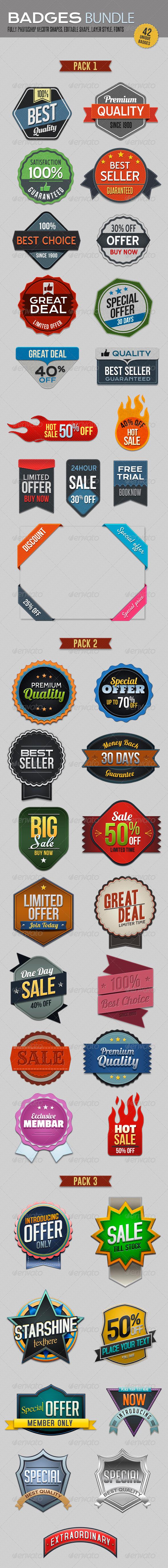Badges Bundle - Badges & Stickers Web Elements