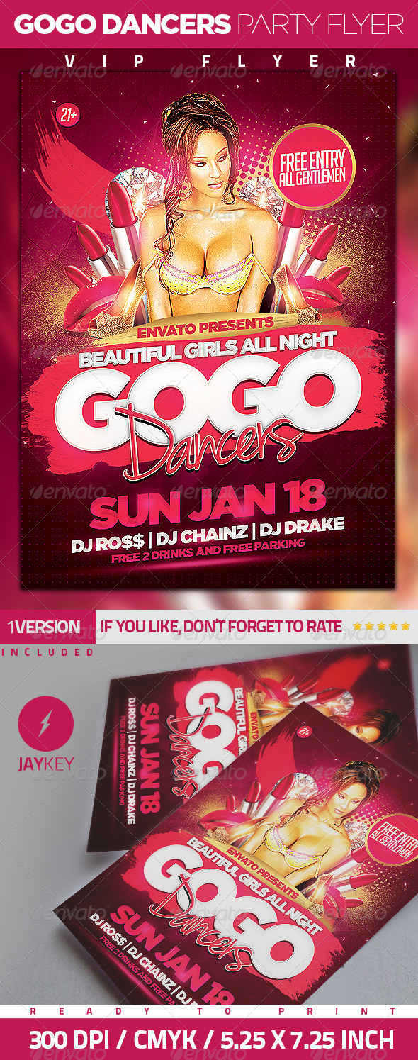 Gogo Dancers Party Flyer - Clubs & Parties Events