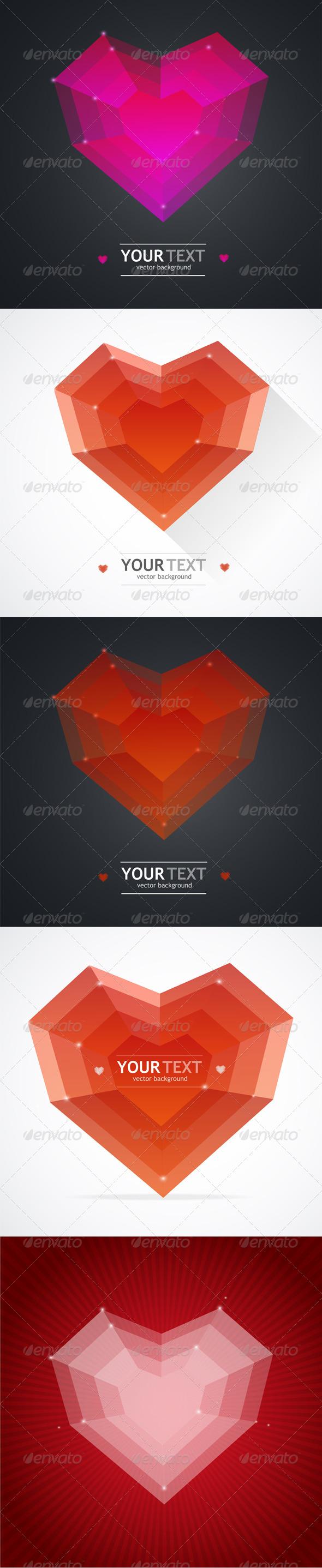 Flat Heart Valentines Day Card Set - Valentines Seasons/Holidays