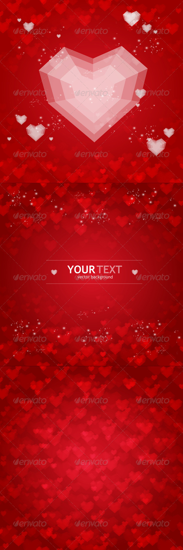 Backgrounds Set from Red Hearts  - Valentines Seasons/Holidays
