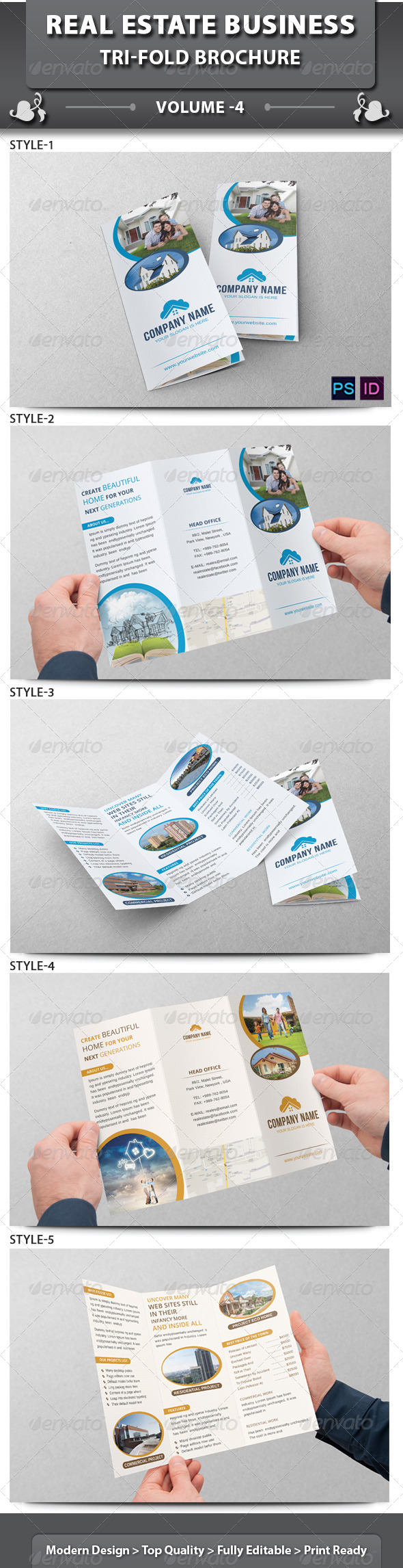 Real Estate Business Tri-fold Brochure | Volume 4 - Corporate Brochures