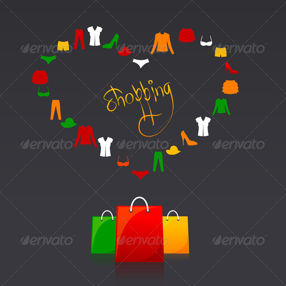 Shopping Bags and Clothes Heart Card - Commercial / Shopping Conceptual