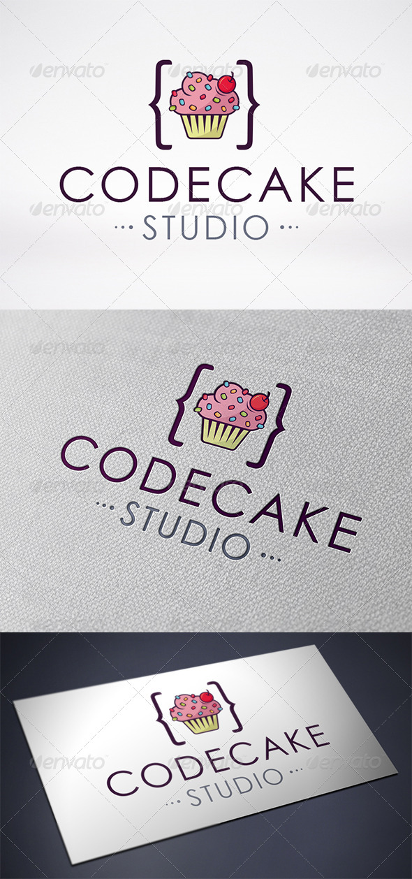 Code Cupcake Logo Template - Food Logo Templates