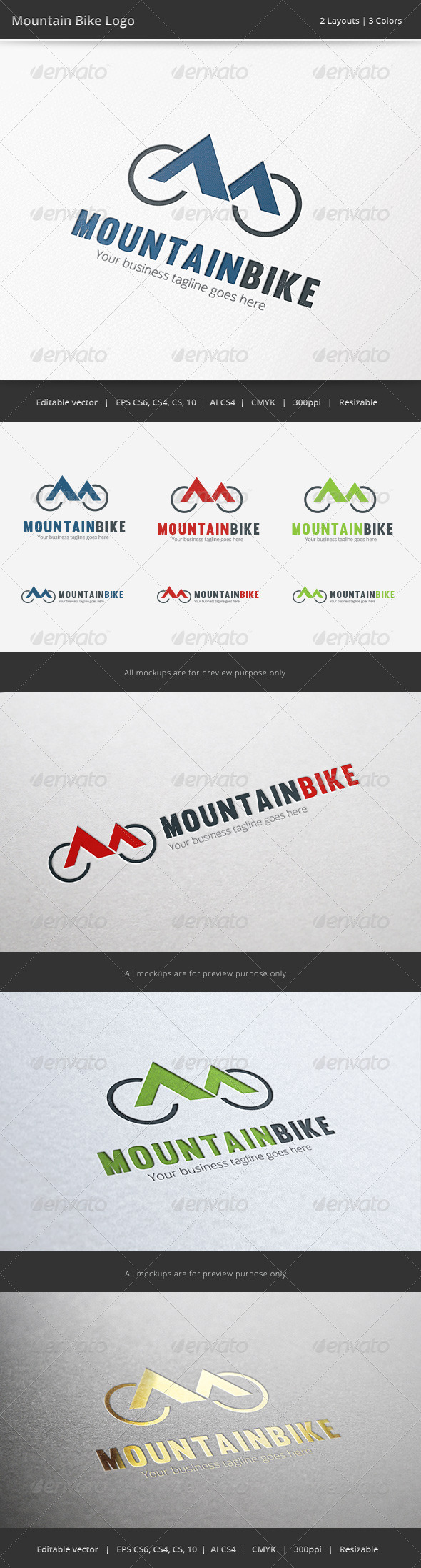 Mountain Bike Bicycle Logo - Objects Logo Templates