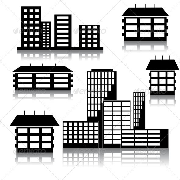 Different Kind of Houses and Buildings - Web Elements Vectors
