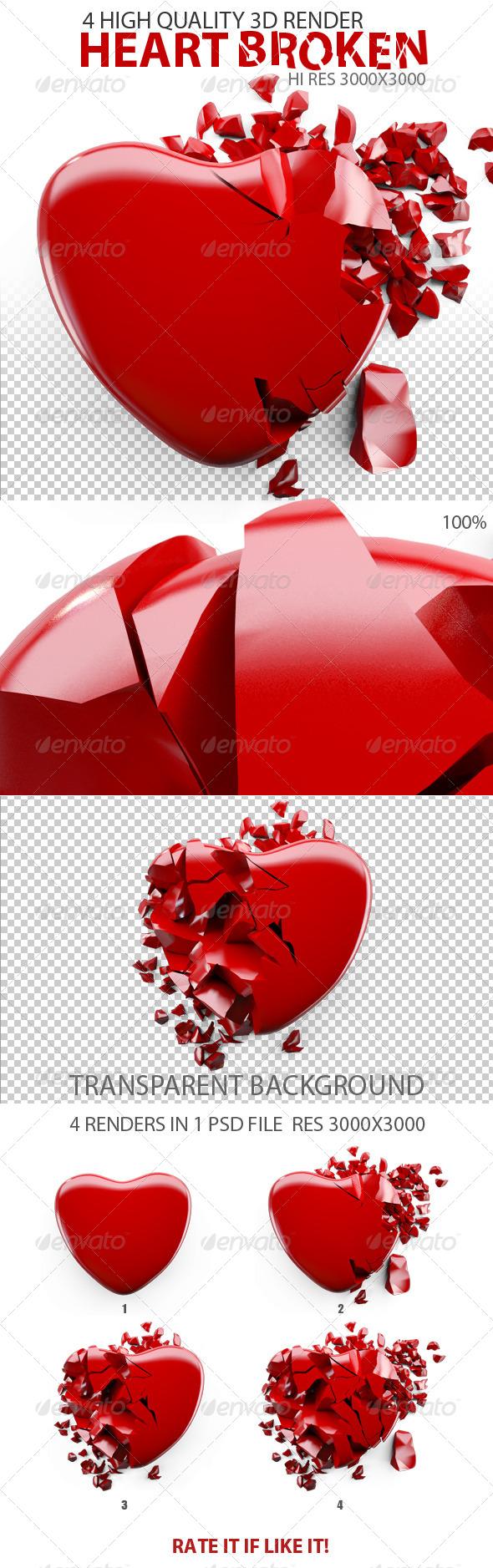 Heart Broken - Objects 3D Renders