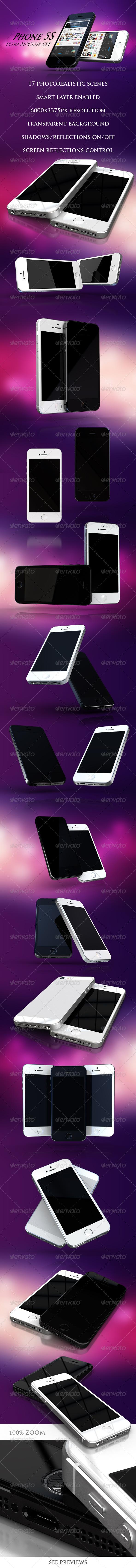 Phone 5S Ultra Mockup Set - Mobile Displays
