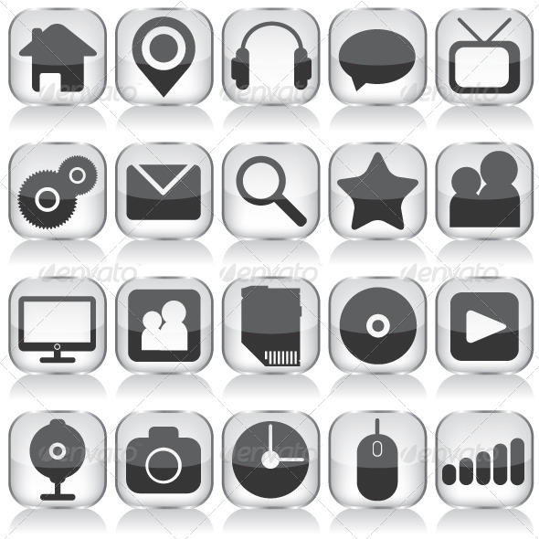 Set of Glass Web Icons - Web Elements Vectors