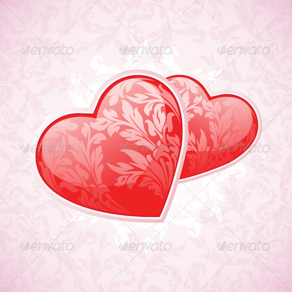 Happy Valentine's Day Floral Background - Valentines Seasons/Holidays