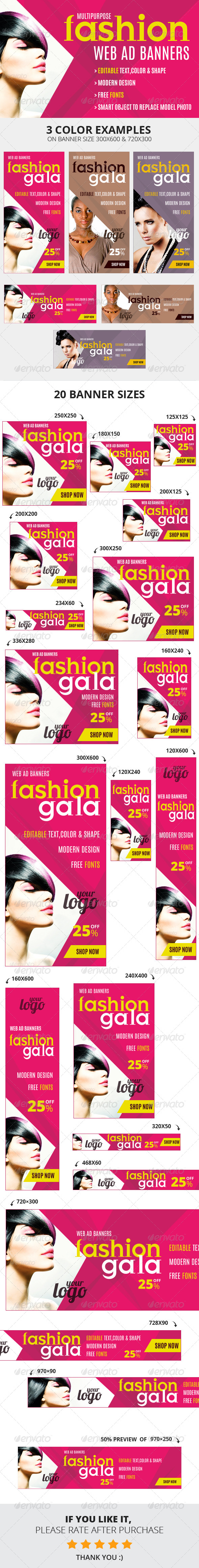 Fashion Gala Web Ad Banners - Multipurpose - Banners & Ads Web Elements