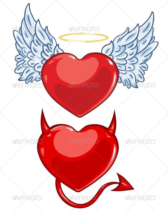 Cartoon Evil and Angels Hearts - Valentines Seasons/Holidays