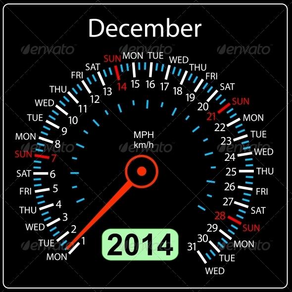 2014 December Calendar Car Speedometer - Web Elements Vectors