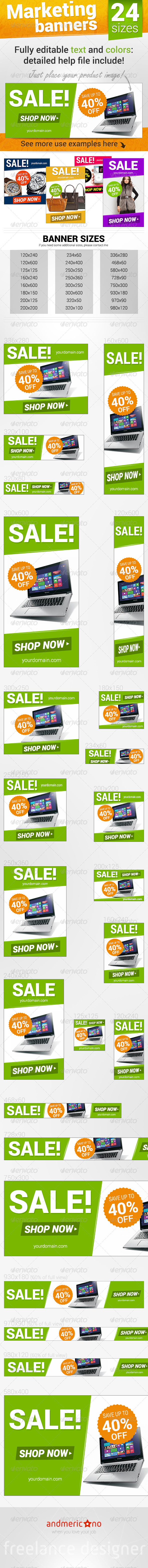 Online Marketing Banners - Banners & Ads Web Elements