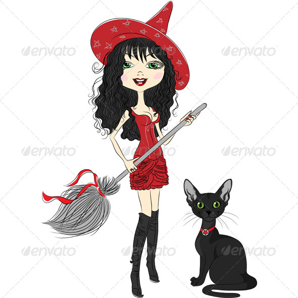 Girl Witch with a Broom and Black Cat - Halloween Seasons/Holidays
