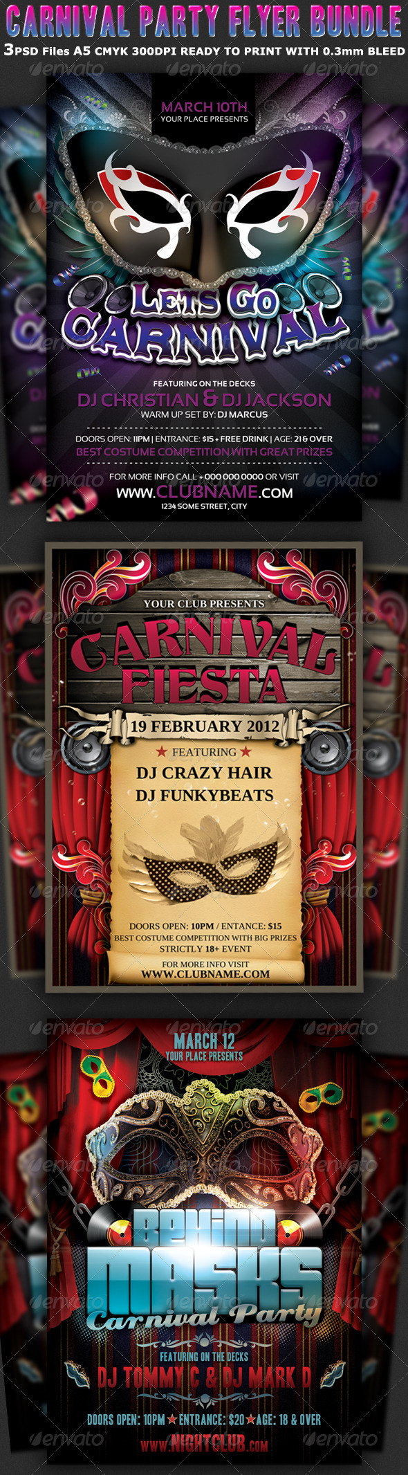Carnival Party Flyer Bundle 3 in 1 - Clubs & Parties Events