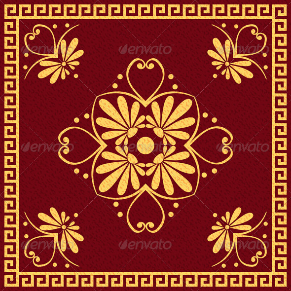 Traditional Red and Gold Greek Ornament - Patterns Decorative