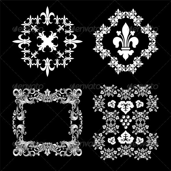 Vintage Decorative Floral Frames Set - Decorative Vectors