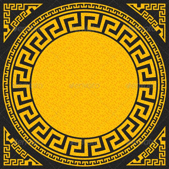 Gold and Black Greek Ornament - Patterns Decorative